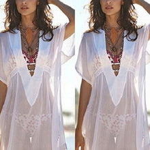 Bohemia Sexy V Collar Transparent Beach Sun Protection Shirt