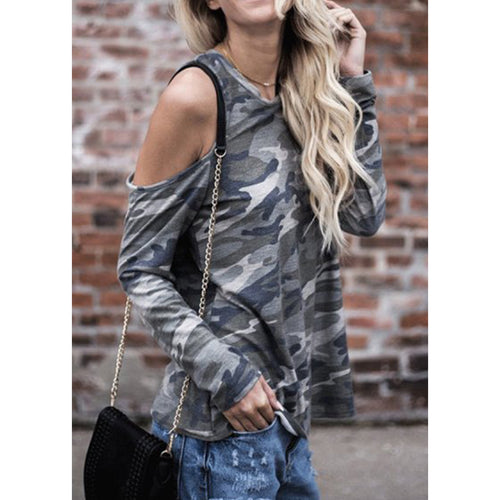 Open Shoulder  Camouflage T-Shirts