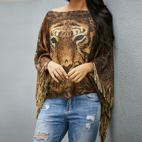 Fringed Knit Shawl Sweater
