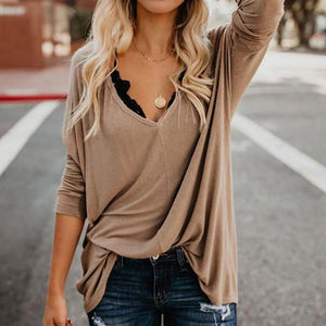 Fashionable Loose V-Neck Long Sleeve Pullover T-Shirt