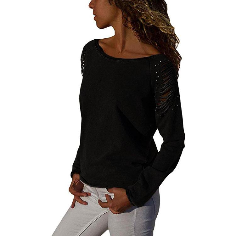 Casual Long Sleeved   Slim Holes Beaded T-Shirt Blouses