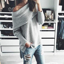 Casual Chic Loose Plain Off Shoulder Long Sleeve Sweater