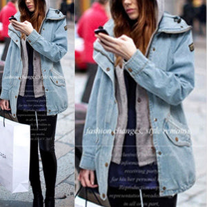 Hooded Drawstring Flap Pocket Denim Two-Piece Coats