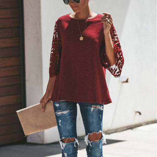 Round Neck  Lace Plain  Bell Sleeve  Blouses
