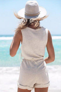 Cotton Deep V Neck Elastic Waist Playsuits