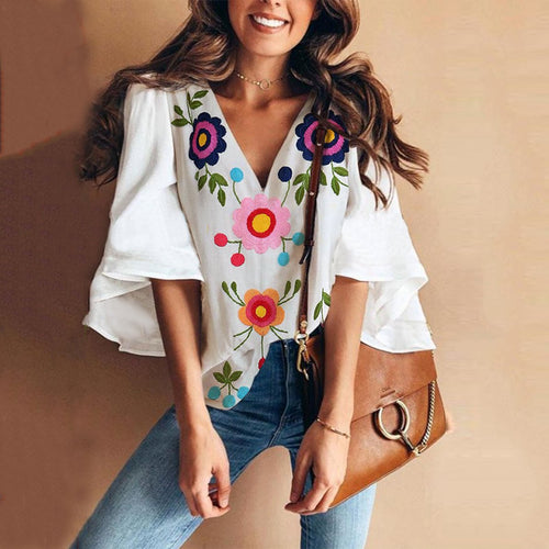 Sexy V Collar Floral Print Bell Sleeve Blouse