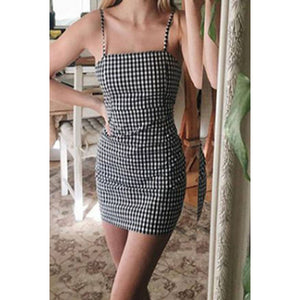 Spaghetti Strap  Backless  Houndstooth  Sleeveless Bodycon Dresses