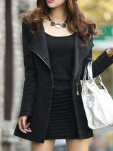 Awesome Woolen Lapel  Zips  Plain Coat