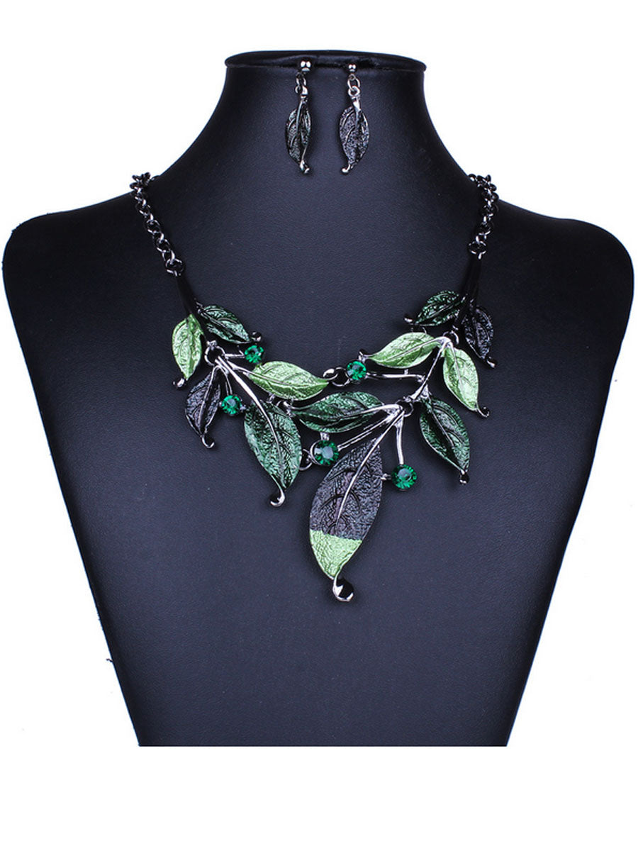 A Suit Of Leaf Necklace And Earrings