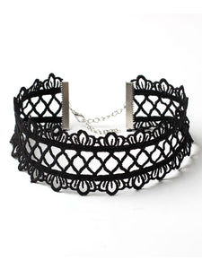 Wide Lace Hollow Out Choker Necklace