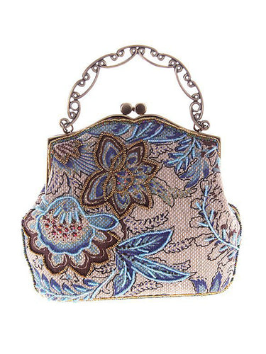 Floral Embroidery Bead Clutch Bag