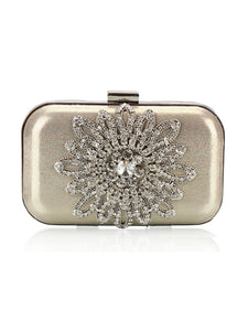 Floral Faux Crystal Evening Clutch Bag