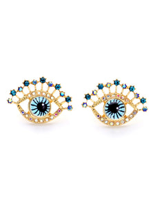 Eye Shape Rhinestone Stud Earrings