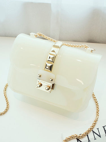 Candy Colored Jelly Bags Rivet Shoulder Diagonal Chain Bag
