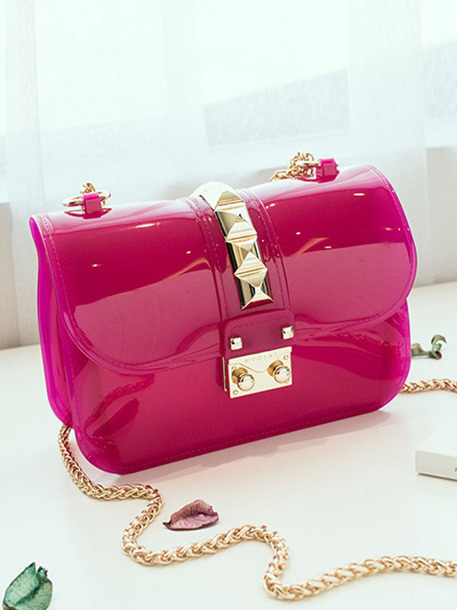 Candy Colored Jelly Bags Rivet Shoulder Chain Bag