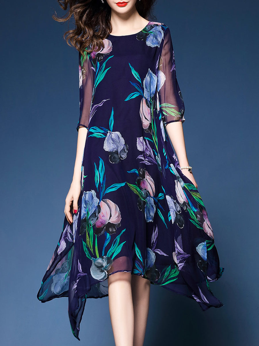Asymmetric Hem  Floral Hollow Out Half Sleeve Shift Dress