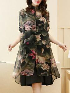 Band Collar Lotus Printed Chiffon Two-Piece Shift Dress
