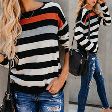 Cover Head Stitching Stripe Sweaters