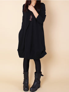 Casual Round Neck Solid Pocket Shift Dress