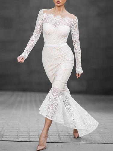 Off Shoulder See-Through Plain Lace Mermaid Evening Dress