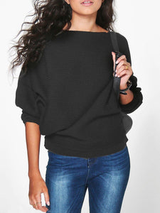 Boat Neck  Plain  Batwing Sleeve  Long Sleeve Long Sleeve T-Shirts