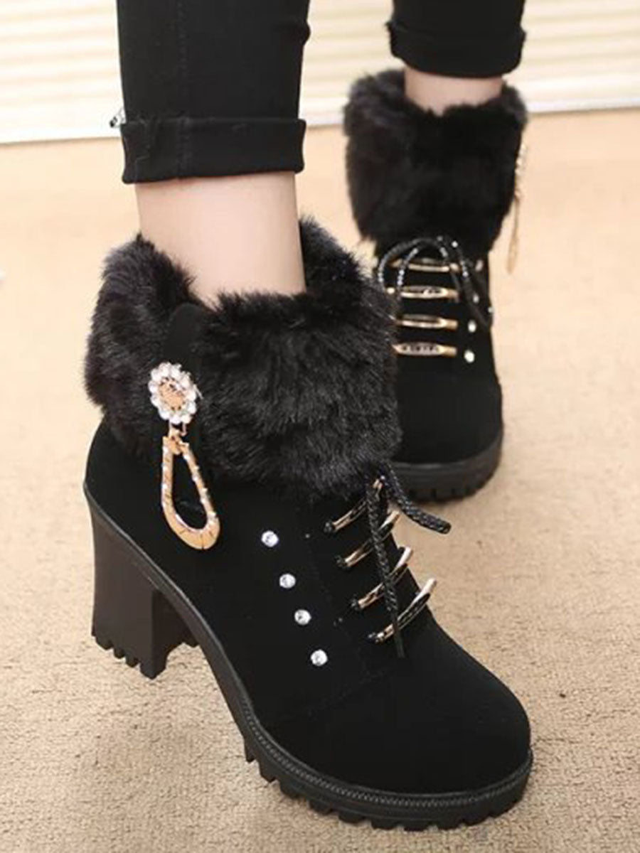 Chunky  High Heeled  Faux Leather  Criss Cross  Date Boots