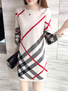 Women Plaid Round Neck Mini Shift Dress