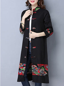 Band Collar Single Breasted Pocket Tribal Printed Coat