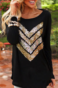Round Neck  Glitter  Sequins Batwing Sleeve T-Shirts