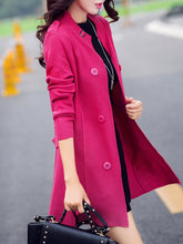Collarless  Double Breasted  Decorative Button  Plain Coats