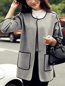 Collarless  Contrast Trim Patch Pocket Coat