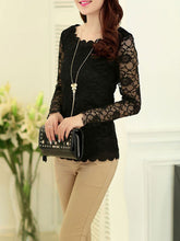 Autumn Spring  Lace  Women  See-Through  Plain Blouses