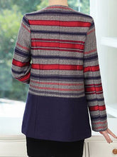 Collarless Striped Patch Pocket Woolen Coat