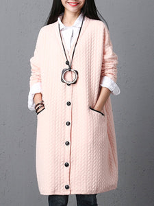 Collarless Single Breasted Pocket Trench Coat