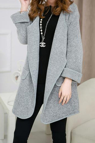 Fold Over Collar  Snap Front  Patchwork Coats
