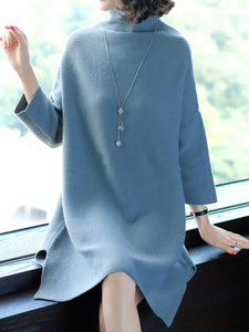 Oversized Turtleneck Plain Knitted Shift Dress