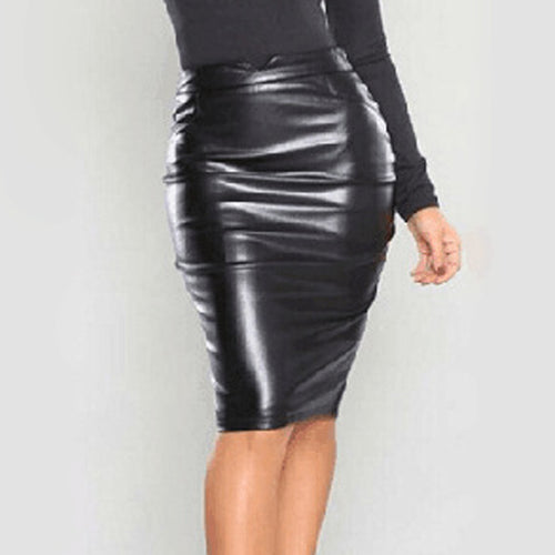Sexy PU Leather Midi Skirt