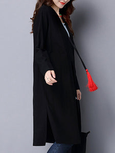 Collarless Tassel Embroidery Long Sleeve Trench Coat