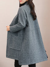 Band Collar Patch Pocket Single Breasted Woolen Plain Coat