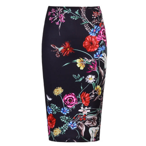 Elegant Floral Printed Slim Pencil Skirt