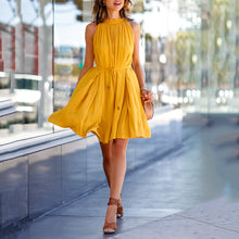 Solid Color Sleeveless Pleated Skater Dress With Pockets & Belt