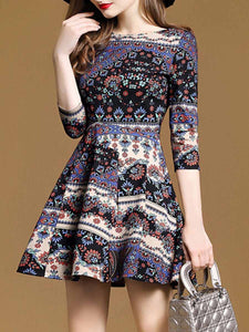 Chic Printed Round Neck Skater Dress