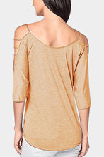 Open Shoulder Round Neck  Hollow Out Plain T-Shirts