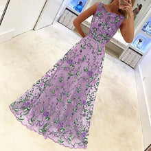 Elegant Embroidery Sleeveless Expansion Evening Dress