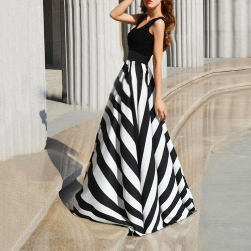 Round Collar Stripe Splicing Sleeveless Expansion Evening Dress