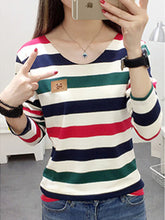 Autumn Spring  Cotton  Women  V-Neck  Striped Long Sleeve T-Shirts