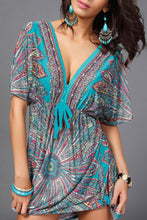 Deep V Neck  Drawstring  Print  Batwing Sleeve  Short Sleeve Casual Dresses