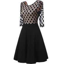 3/4 Sleeve Polka Dot Hollow Skater Dress