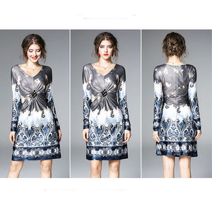 Early Spring V-Neck Print Dress