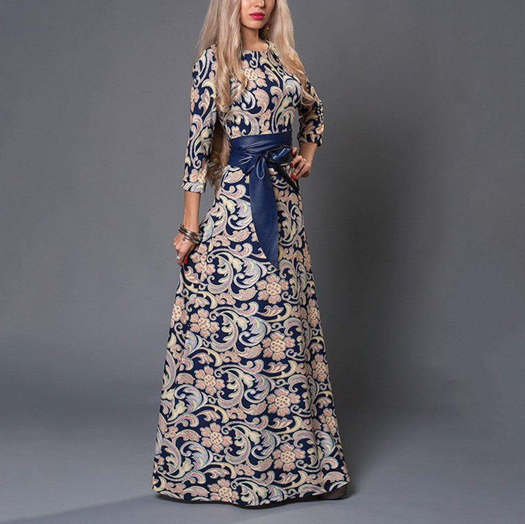 Digital Printed Long Floor-Length Elegant Vacation Dress With Belt